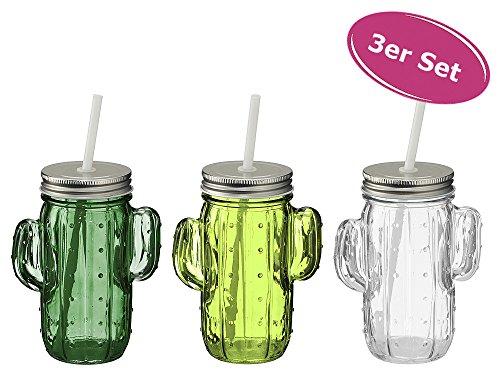 Trinkglas Kaktus mit Henkel, 3er Set - Saftglas, Trinkglas, Trinkbecher, Glas mit Strohhalm