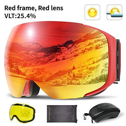 KTUCN Magnetische Skibrille mit Wechselscheibe und Etui-Set 100% UV400-Schutz Anti-Fog-Snowboardbrille für Herren & amp;Frauen, rote Linse, China