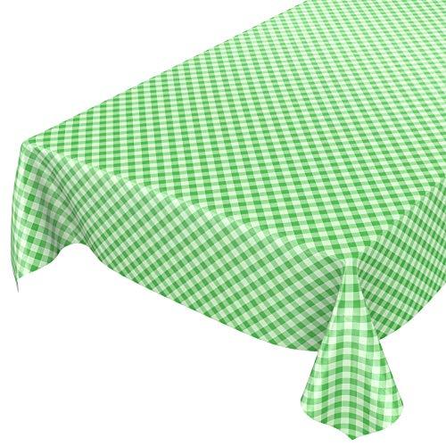 ANRO Wachstuchtischdecke Wachstuch Wachstischdecke Tischdecke Wachstuchdecke Karo Kariert Grün 100 x 140cm eingefasst