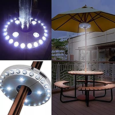Patio Umbrella Lights, Parasol Lights,Wireless Lamp, with 24 + 4 LED,Camping Tents and Outdoor Use (Silver) from JINGBOSHI