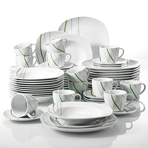 Veweet 'Aviva' Vajilla de porcelana 60 piezas vajilla completa incluye 12 tazas de café de 175ml, 12 platillo, 12 platos de postre, 12 platos llanos y platos hondos vajilla para 12 personas