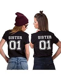 Mejores Amigas Camiseta Best Friend T-Shirt Impresión Sister 01 100% Algodón 2 Piezas