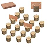 AIM Cloudbed 20 soportes de madera rústica para tarjetas de boda, medio redondo, para números de mesa, de madera, para notas, fotos, tarjetas con 25 tarjetas de papel kraft Cylinder