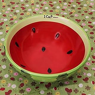 Aliciashouse Handgefertigte Keramik Schüssel handbemalt Wassermelone Reis Schüssel Suppe Keramik Obstschale-Wassermelone