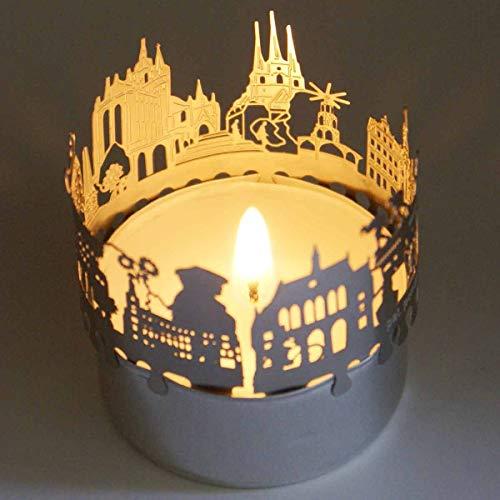 13gramm Erfurt-Skyline Windlicht Schattenspiel Souvenir, 3D Edelstahl Aufsatz für Kerze inkl. Karte