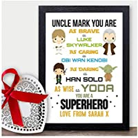 STARWARS PERSONALISED Christmas Gifts for Uncle Xmas Presents for Uncle Brother - PERSONALISED with ANY NAME and ANY RECIPIENT - Black or White Framed A5, A4, A3 Prints or 18mm Wooden Blocks