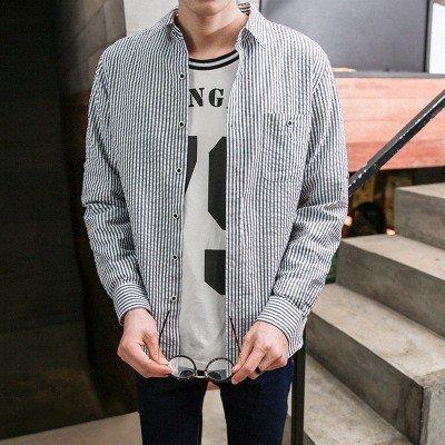 Gli Uomini Di Moda A Maglia Di Cotone _ Giacca Camicia A Righe black