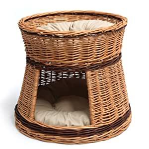 wicker two tier cat house basket pet supplies. Black Bedroom Furniture Sets. Home Design Ideas