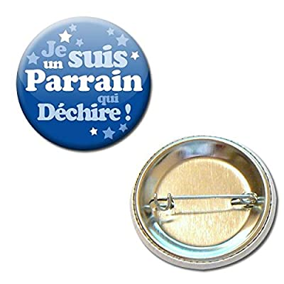 Je Suis un Parrain qui Déchire Badge Rond à Épingle 3,8 centimètres Idée Cadeau Accessoire Baptême Communion Noël