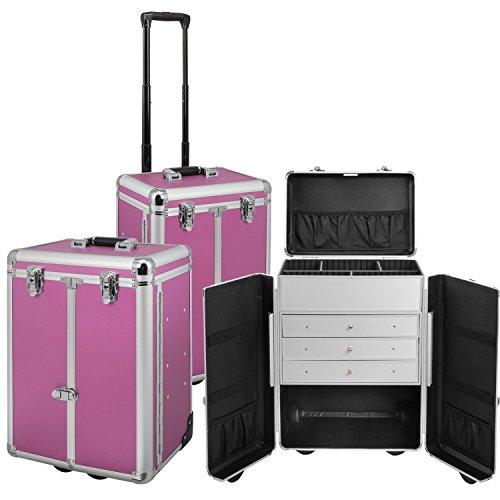 Exklusiver Aluminium Sortimentskoffer Trolley Tackle box Pilotenkoffer Präsentationskoffer in Lila als Friseurkoffer bzw. Kosmetikkoffer Produktpräsentationen