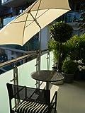 BILD zeigt Schirmbefestigung mit dem patentierten Holly Balkon - Schirme - Halter für Schirmstöcke mit EDELSTAHLHÜLSE bis 33 mm mit 360 ° patentierter UNIVESAL- Halterung ® Spannbacken bis 40 mm Ø + GUMMISCHUTZKAPPEN zur kratzfreien BEFESTIGUNG - INNOVATIONEN MADE in GERMANY - HOLLY PRODUKTE STABIELO ® -- holly-sunshade ® -