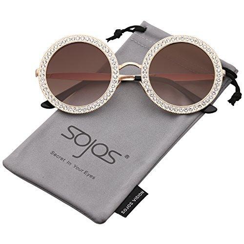SojoS Gafas De Sol Para Mujer Redondo Marco Diamante Cristal SJ1095 Con  Marco Dorado Lente 7b0d83d7aafe