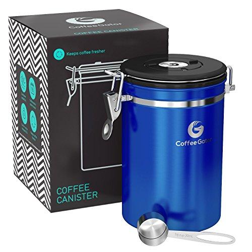 GROßE Blaue KAFFEEDOSE - KAFFEEBEHÄLTER aus Edelstahl mit Deckel und Aromaverschluss - Vorratsdose...