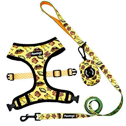 Pawmigo Sunday Funday Essential Set für Französische Bulldogge, Boston Terrier, Mops, andere kompakte Hunde, Large, gelb -