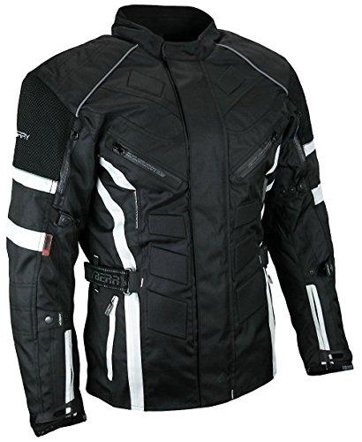 *Herren Touren Motorradjacke Textil Heyberry schwarz weiß Gr. L*