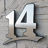 Edelstahl Hausnummer gebürstet rostfrei ( 2-stellig / 21cm Ziffernhöhe ) - mit Plexiglas Hintergrund in Anthrazit-grau, Schwarz oder Weiss, 7mm stark - Original ALEZZIO Design - Rostfrei, UV-beständig, Anthrazitgrau ähnlich RAL 7016 mit Edelstahlhausnummer kombiniert - leichte Motage, alle Ziffern und Buchstaben möglich von 1-999, a b c d e f