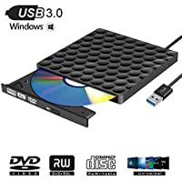 Grabadora CD/DVD Externa,Portátil con USB 3.0,Ultra Silm CD Player Unidad Óptica Externa de CD/DVD-RW Compatible con Windows10/7/8, Laptop, Mac, Macbook Air/Pro, Apple, Desktop, PC, Negro