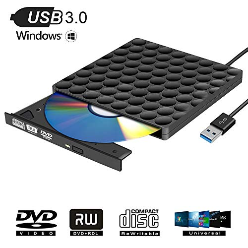 Masterizzatore CD DVD Esterno USB 3.0 Portatile Unità DVD Slim Lettore DVD Esterno per Windows10 / 7/8, laptop, Mac, Macbook Air/Pro, Apple, Desktop, PC - Nero