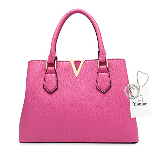 Borse per donne Yoome per le donne Crossbody Lichee Top Handle Tote Handbags di grande capacità - L.Grey Rosa