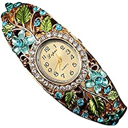 PSFY Women Slim Flower Leaves Reinstone Round Band Bracelet Wrist Watch Christmas Gift(blue)