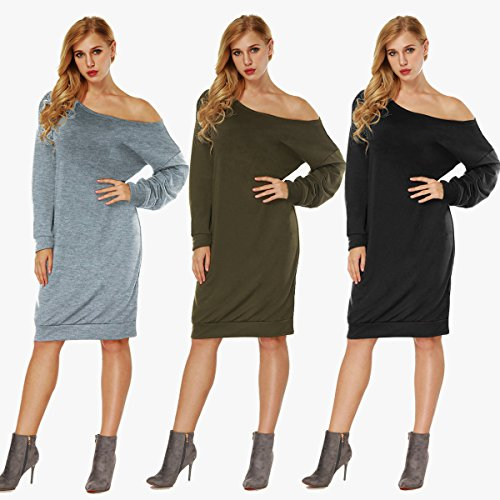 Junshan Pull Femme Casual Robe Manches Longues Manquantes épaule Grand Groupe de vêtements Large Top à Manches Longues Tunique Noir