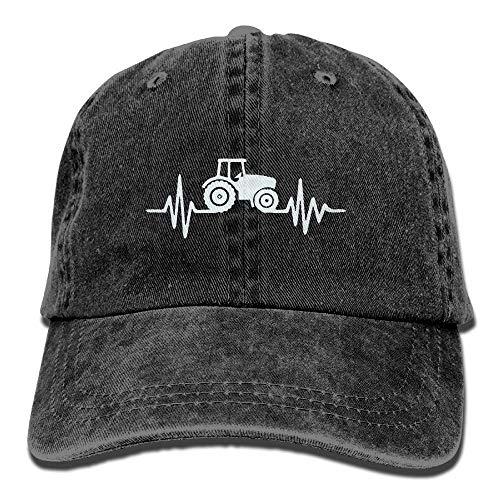 angwenkuanku Unisex Baseball Cap Garn gefärbt Denim Hut Traktor Herzschlag einstellbar Snapback Sunbonnet wunderschöne 8458 -