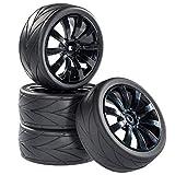 Straßenmodell Reifen Felgenset V-Grip 10 Speichen schwarz 1:10 RC Car partCore 321001