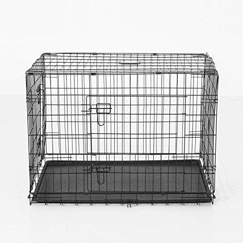 PawHut - Käfig/Transportbox für Haustiere, zusammenklappbar, aus Stahl, Doppelte Tür, 122 x 77 x 82 cm, Schwarz