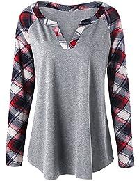 CharMma Women's Plus Size Casual Split V Neck Raglan Sleeve Plaid Tunic Tops