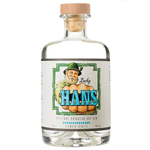 Lucky HANS Bavarian Dry Gin | Deutscher Premium Gin aus Bayern | Ausschließlich mit einheimischen Botanicals destilliert | 44% Vol. | (1x 0.5 l)