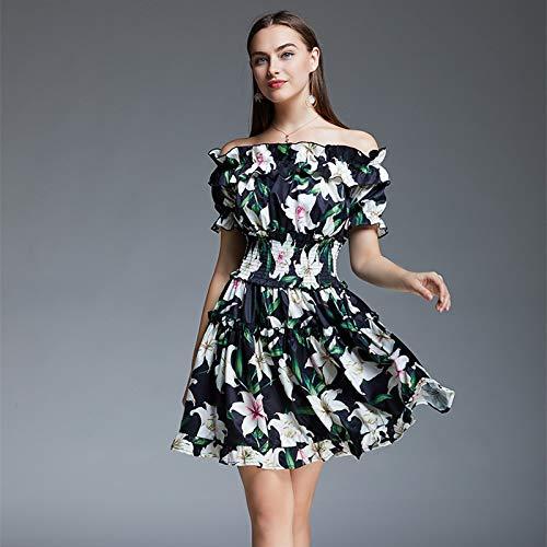 QUNLIANYI Abikleider Lang Floral Print Kurze Kleid Frauen Off Schulter Schräghals Rüschen Elastische Taille Strand Casual Kleid XL -