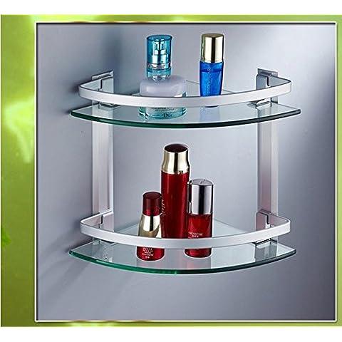 Bagno o della cucina il portasciugamani Supporto per montaggio a parete in rack di storage,organizzare tutto il ripiano con asciugamano e scaldasalviette Rail,Rack doppio spazio in alluminio Doppi vetri