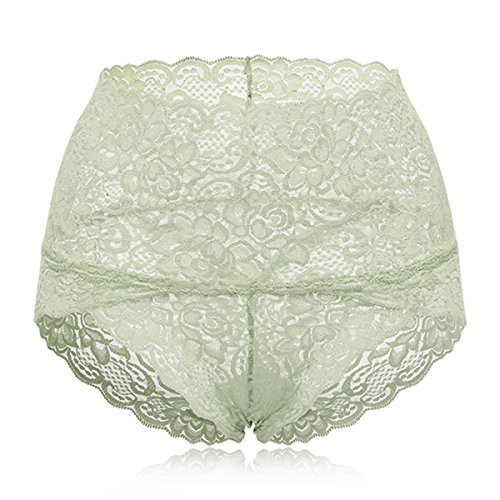 KissLace Damen Spitze Panty hohe Taille Slip Unsichtbare Dehnbare Bequeme Unterhose Hipsters Hellgrün