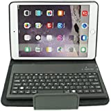 Uni-Smartech Leather Case Cover Stand with Wireless Bluetooth Removable Silicone Keyboard for IPAD mini series, Black