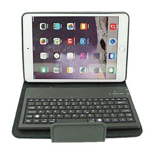 Leder-Etui Cover mit Wireless Bluetooth abnehmbare Silikon-Tastatur für Ipad Mini(schwarz )