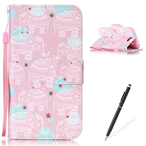 Feeltech Hülle für Huawei Y5 II/Honor 4A Weich Magnet PU Brieftasche Elegant Kartenfach Extra Dünn Schutzhülle Bunte ReLife MusterKarte Halterung Klapp Ledertasche - Weißer Totem Elefant