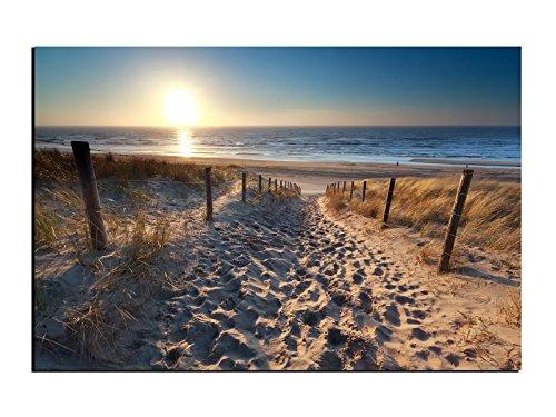 Alu-Dibond Bild Weg zum Sandstrand an der Ostsee mit Sonne ALB00641 Butlerfinish® 120 x 80 cm, Wandbild Edel gebürstete Aluminium-Verbundplatte, Metall effekt Eyecatcher!