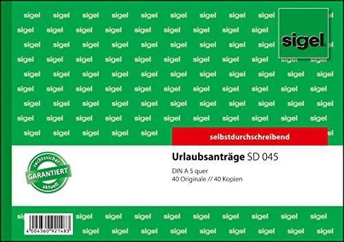 Preisvergleich Produktbild Sigel SD045 Urlaubsantrag A5 quer, 2x40 Blatt, selbstdurchschreibend, 1 Stück
