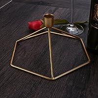 Vosarea Candelabros de Hierro clásico Candelabro de té de luz para el Banquete de Boda decoración del hogar (Oro)