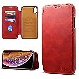 Coque pour iPhone XS Max 6.5 inch, Ordinateur Portable en Cuir PU avec intérieur PC Fonction de Support Support Fente pour Carte Etui en Cuir Fonctionnel de Couleur Unie Rouge
