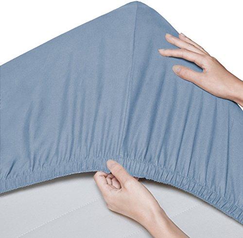 Pinzon - Spannbettlaken aus Bio-Baumwolle, Kinderbett/Babybett, 2er-Pack, 60 x 120 cm, Kieselstein-Blau