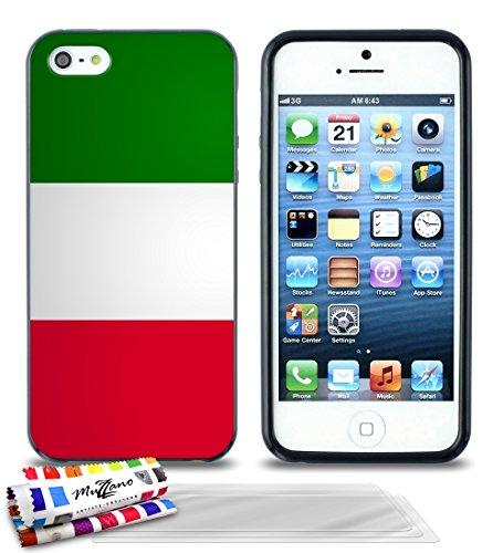 Ultraflache weiche Schutzhülle APPLE IPHONE 5S / IPHONE SE [Italien-Flagge] [Schwarz] von MUZZANO + STIFT und MICROFASERTUCH MUZZANO® GRATIS - Das ULTIMATIVE, ELEGANTE UND LANGLEBIGE Schutz-Case für I Schwarz + 3 Displayschutzfolien
