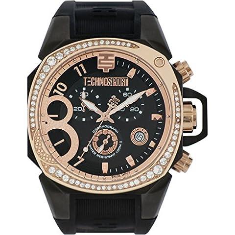 TechnoSport TS-103–8Womens Nero In silicone band, oro quadrante, 40mm, colore: nero e oro, Acciaio Inossidabile Cronografo