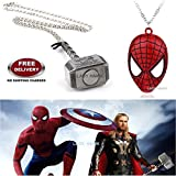 (2 Pcs AVENGER SET) - SPIDERMAN MASK & THOR HAMMER (SILVER) IMPORTED PENDANTS WITH CHAIN. LADY HAWK DESIGNER SERIES 2018. ❤ ALSO CHECK FOR LATEST ARRIVALS - NOW ON SALE IN AMAZON - RINGS - KEYCHAINS - NECKLACE - BRACELET & T SHIRT - CAPTAIN