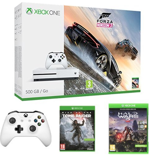 Xbox One S 500GB + Forza Horizon 3 + Controller + Rise of Tomb Rider + Halo Wars 2