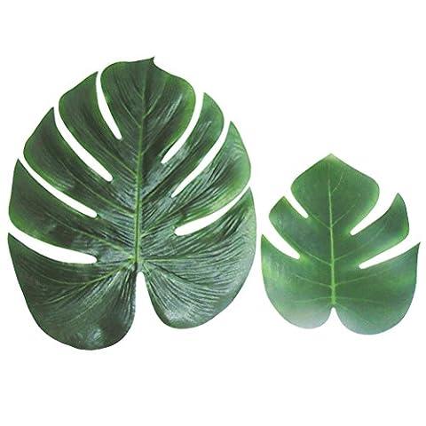Tinksky Feuilles de palmiers tropicaux 12pcs pour fournitures de décoration Party Luau hawaïen et faveurs (taille M)