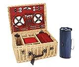 Greenfield Collection (GG020PW) Deluxe Picknickkorb für 4Personen, Weide, Futter in Royal Rot mit luxus Picknickdecke in Nachtblau