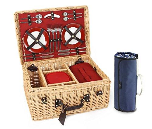 Greenfield Collection Blenheim - Cesta y manta de picnic en mimbre, para 4 personas, color marrón