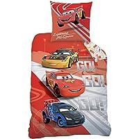 CTI 043657 Cars Go Go Go Housse de Couette 140 x 200 cm et Taie d'oreiller 63 x 63 cm Coton Rouge