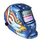 KKmoon Scurimento Solare Casco da Saldatura Maschera Arc Tig Mig Grinding Aquila (Blu)